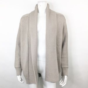 VINCE CHUNKY OPEN FRONT CARDIGAN SWEATER IN FOSSIL